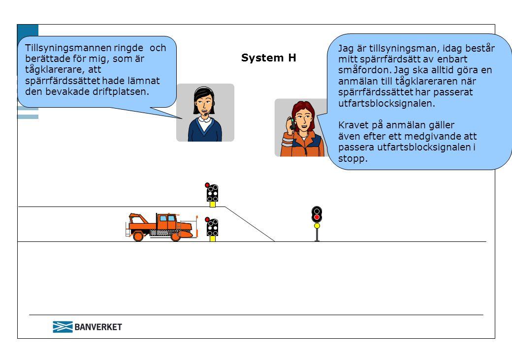 System H Tillsyningsmannen ringde och berättade för mig, som är tågklarerare, att spärrfärdssättet hade lämnat den bevakade driftplatsen.