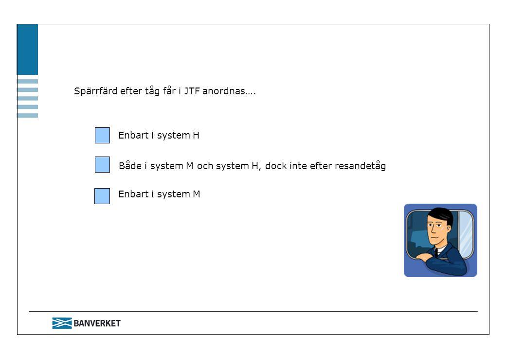 Spärrfärd efter tåg får i JTF anordnas….