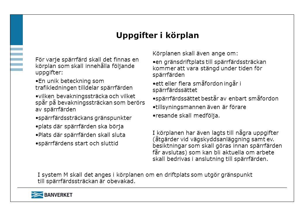 Uppgifter i körplan Körplanen skall även ange om:
