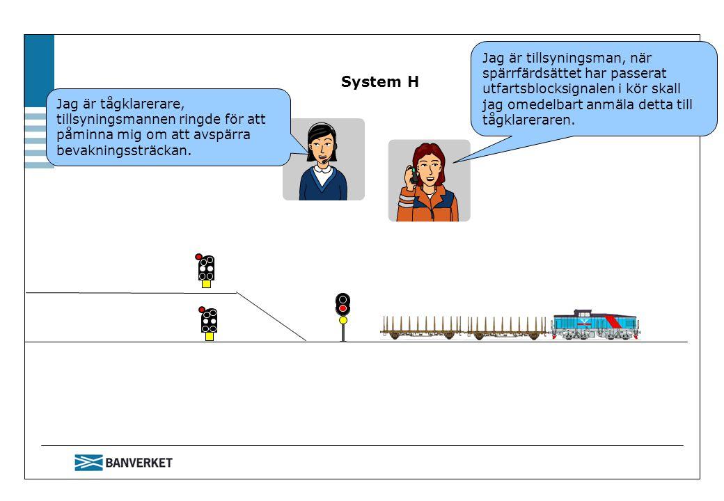 System H Jag är tillsyningsman, när spärrfärdsättet har passerat utfartsblocksignalen i kör skall jag omedelbart anmäla detta till tågklareraren.