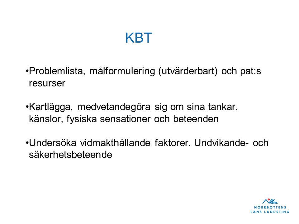 KBT Problemlista, målformulering (utvärderbart) och pat:s resurser