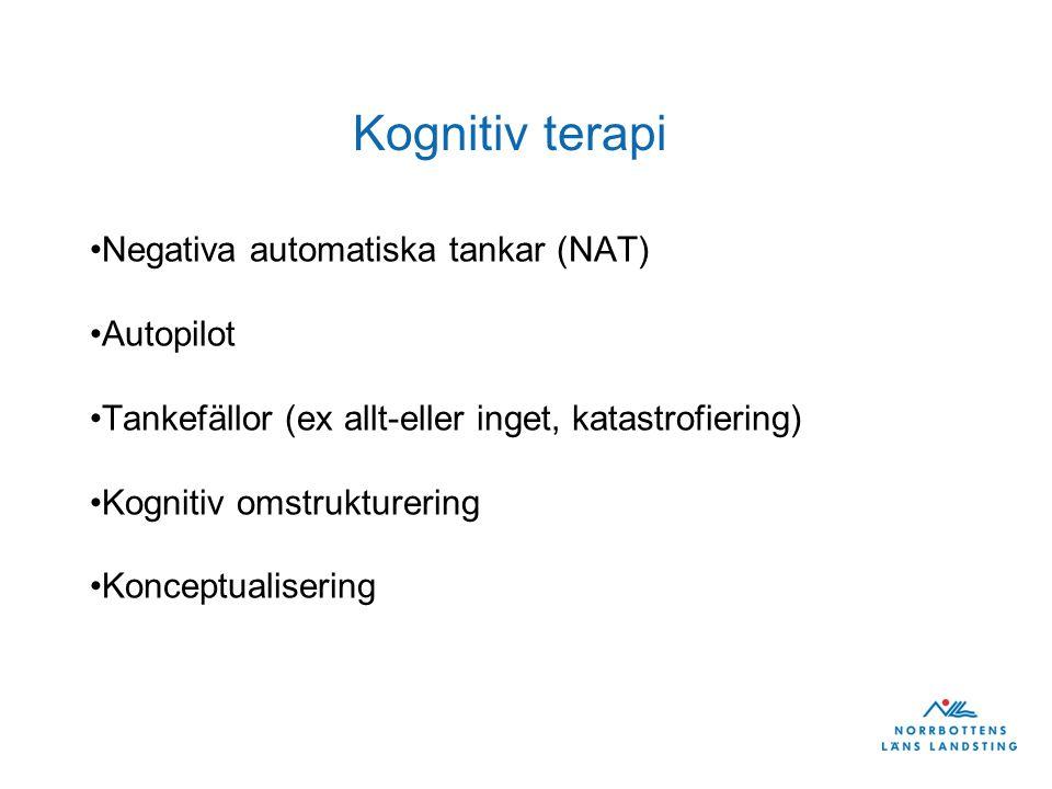 Kognitiv terapi Negativa automatiska tankar (NAT) Autopilot