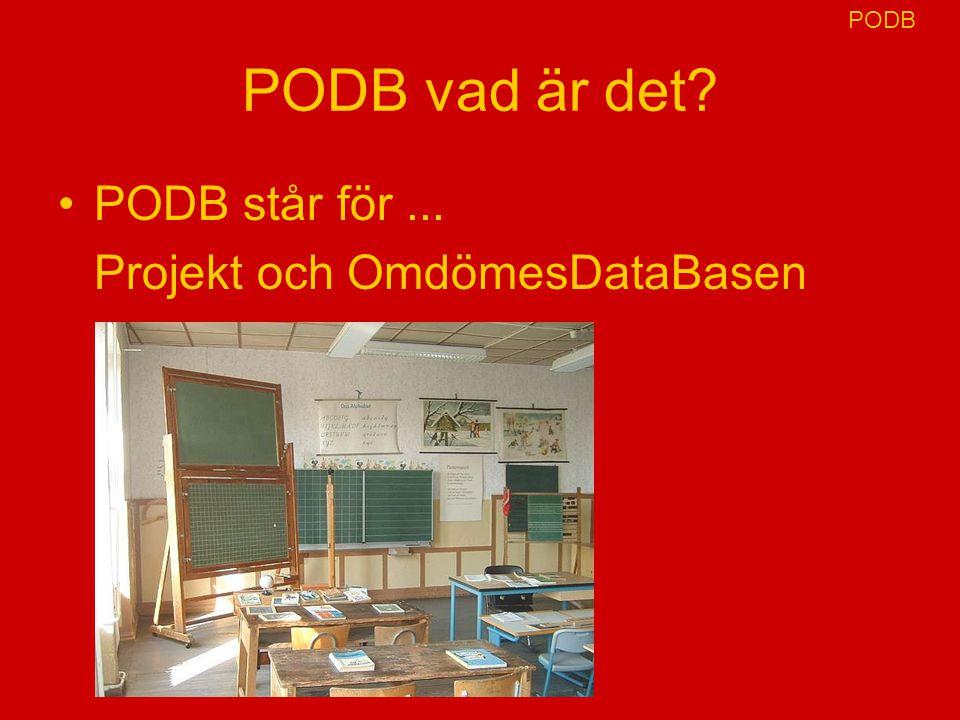 PODB PODB vad är det PODB står för ... Projekt och OmdömesDataBasen