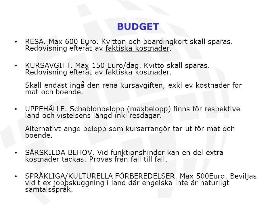 BUDGET RESA. Max 600 Euro. Kvitton och boardingkort skall sparas. Redovisning efteråt av faktiska kostnader.