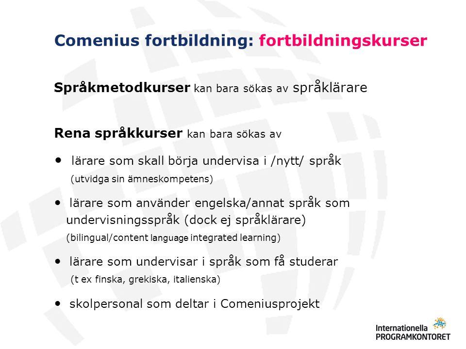 Comenius fortbildning: fortbildningskurser