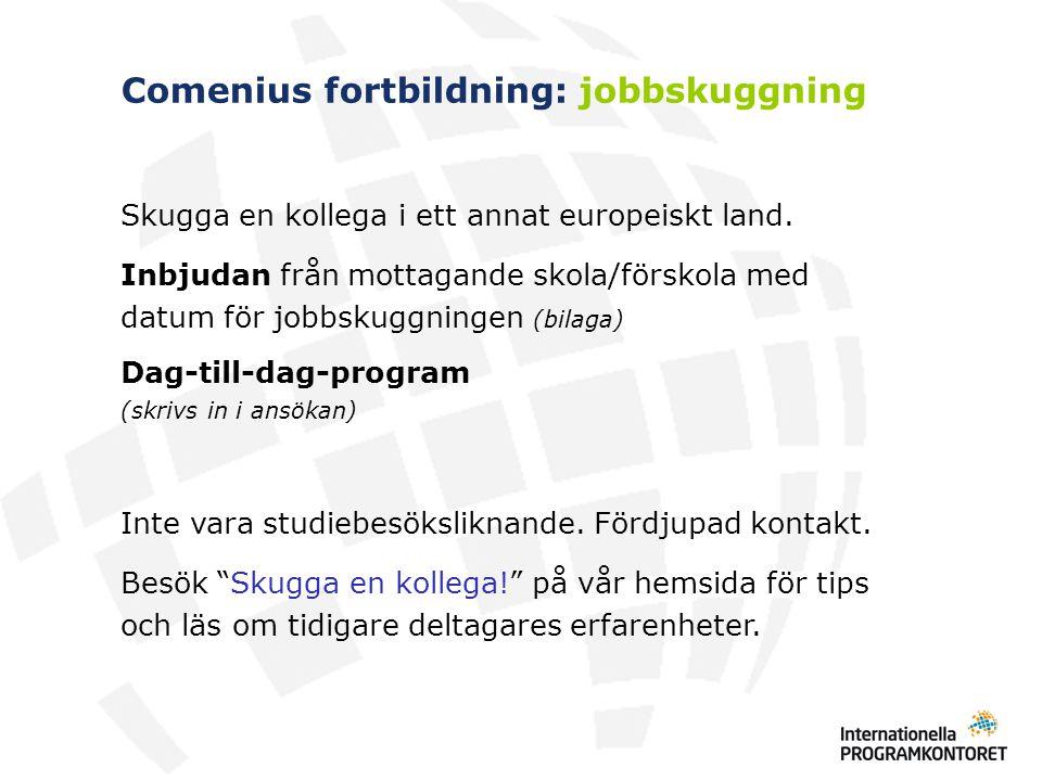 Comenius fortbildning: jobbskuggning