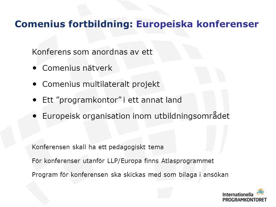 Comenius fortbildning: Europeiska konferenser