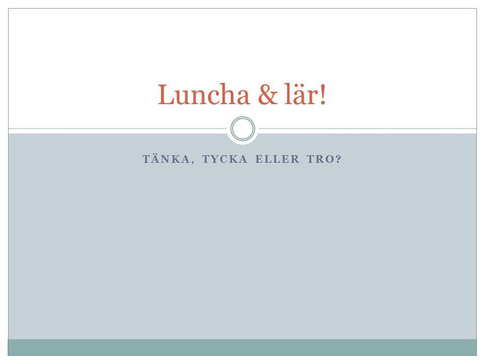 Luncha & lär! Tänka, tycka eller tro
