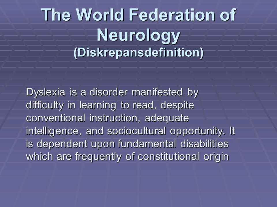 The World Federation of Neurology (Diskrepansdefinition)