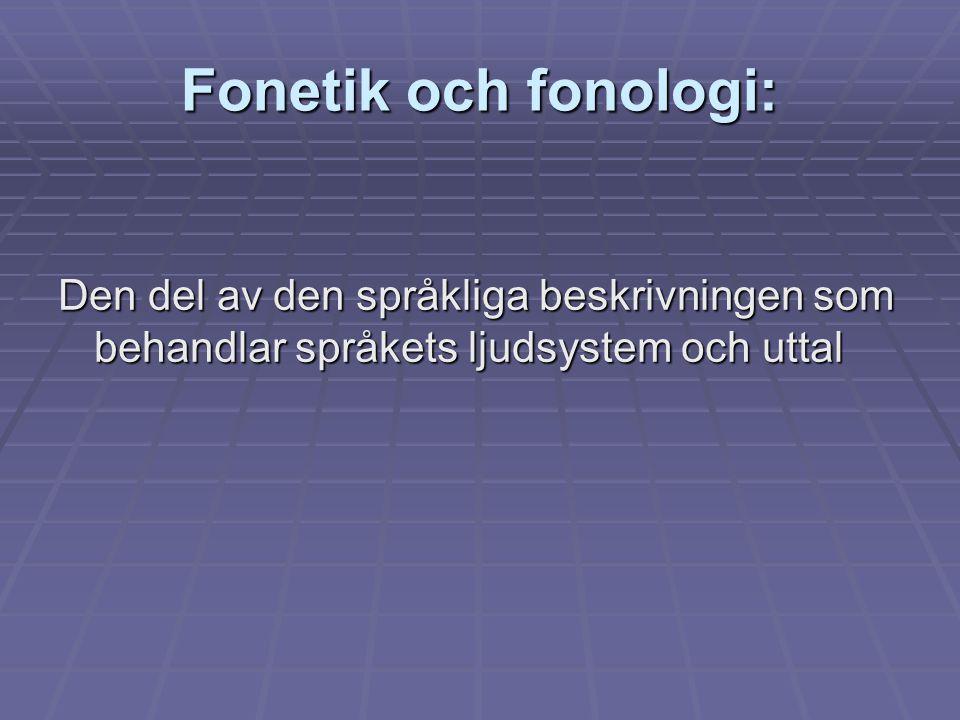 Fonetik och fonologi: Den del av den språkliga beskrivningen som behandlar språkets ljudsystem och uttal.