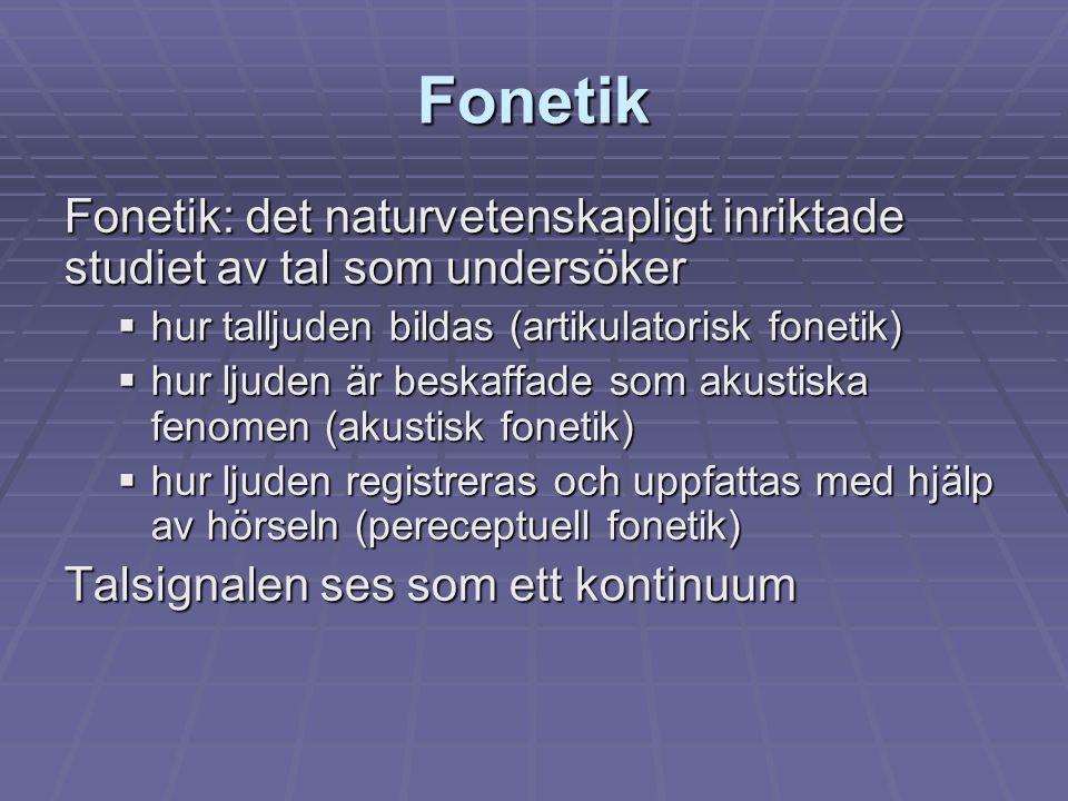 Fonetik Fonetik: det naturvetenskapligt inriktade studiet av tal som undersöker. hur talljuden bildas (artikulatorisk fonetik)