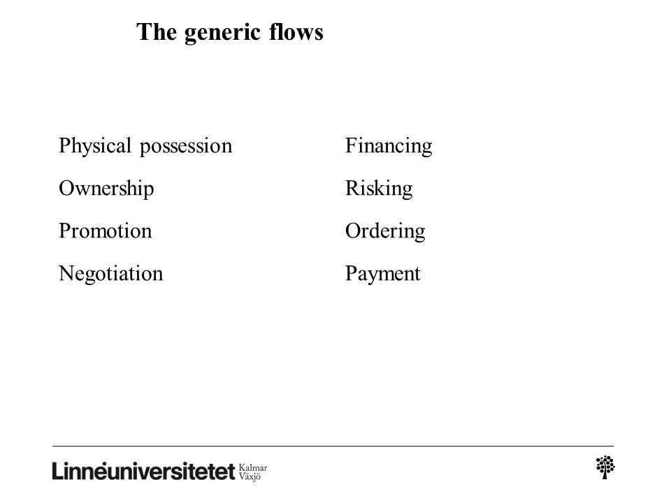 The generic flows Physical possession Ownership Promotion Negotiation