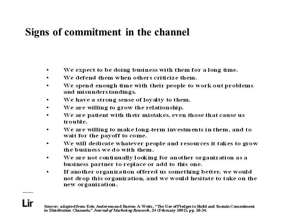 Signs of commitment in the channel