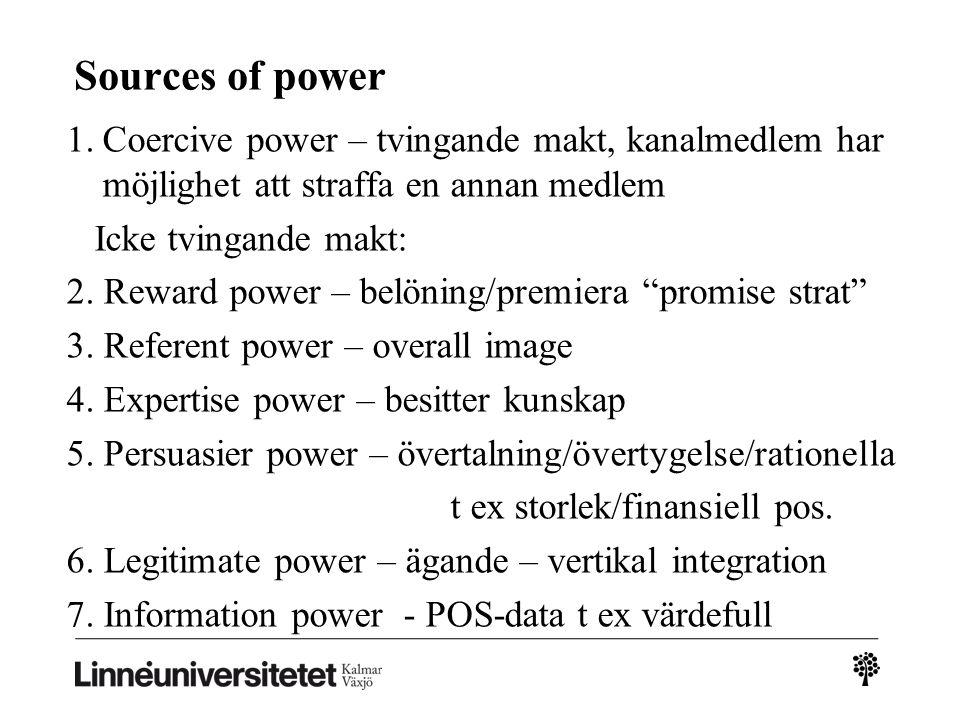 Sources of power Coercive power – tvingande makt, kanalmedlem har möjlighet att straffa en annan medlem.