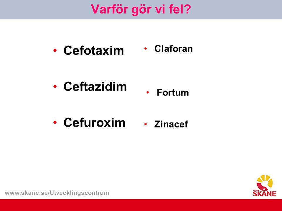 Varför gör vi fel Cefotaxim Ceftazidim Cefuroxim Claforan Fortum