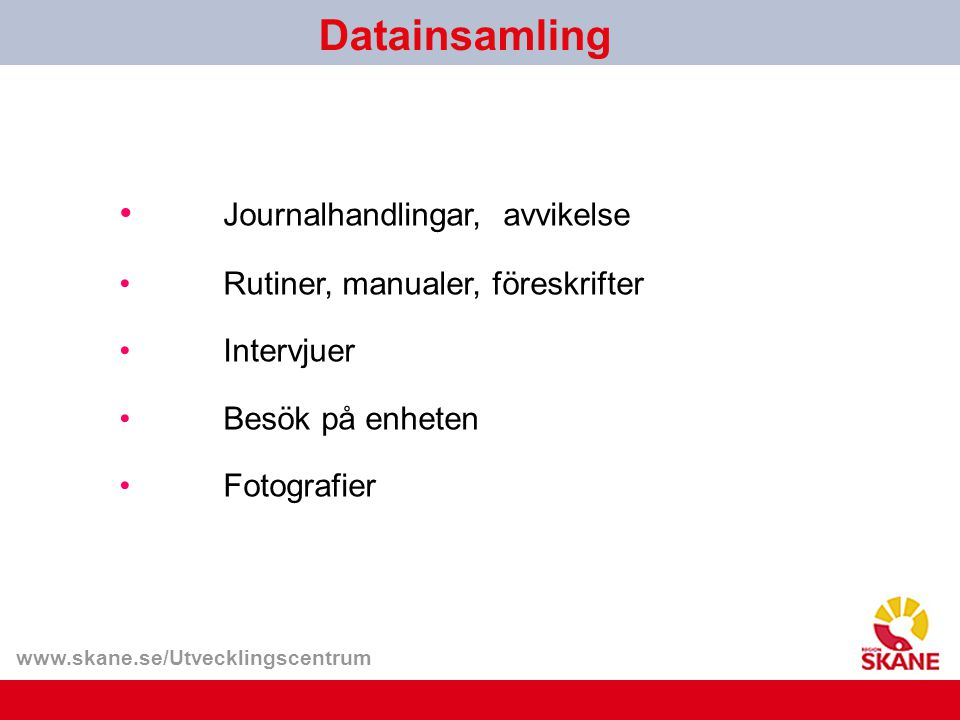 Datainsamling Journalhandlingar, avvikelse