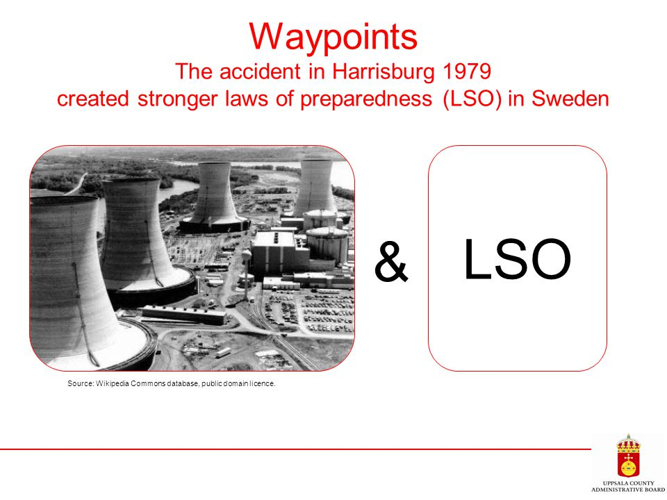 Waypoints The accident in Harrisburg 1979 created stronger laws of preparedness (LSO) in Sweden