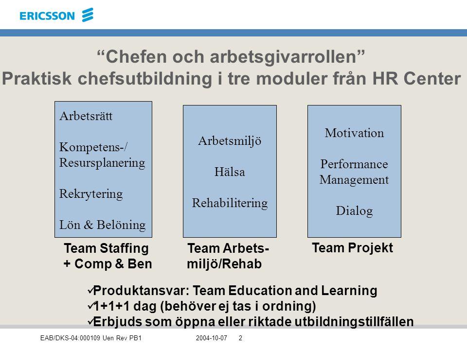 Chefen och arbetsgivarrollen Praktisk chefsutbildning i tre moduler från HR Center