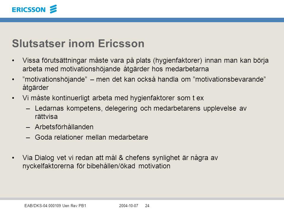 Slutsatser inom Ericsson