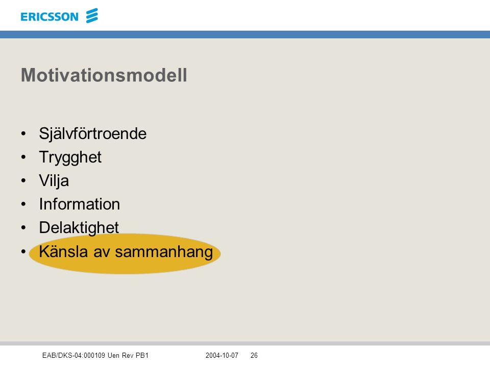 Motivationsmodell Självförtroende Trygghet Vilja Information