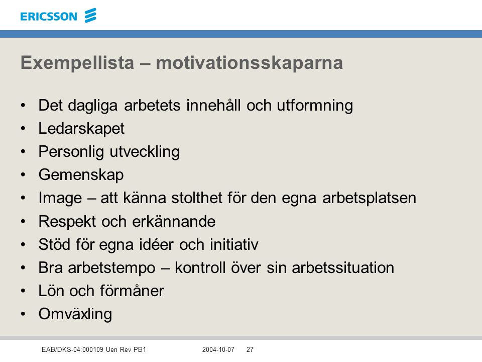 Exempellista – motivationsskaparna