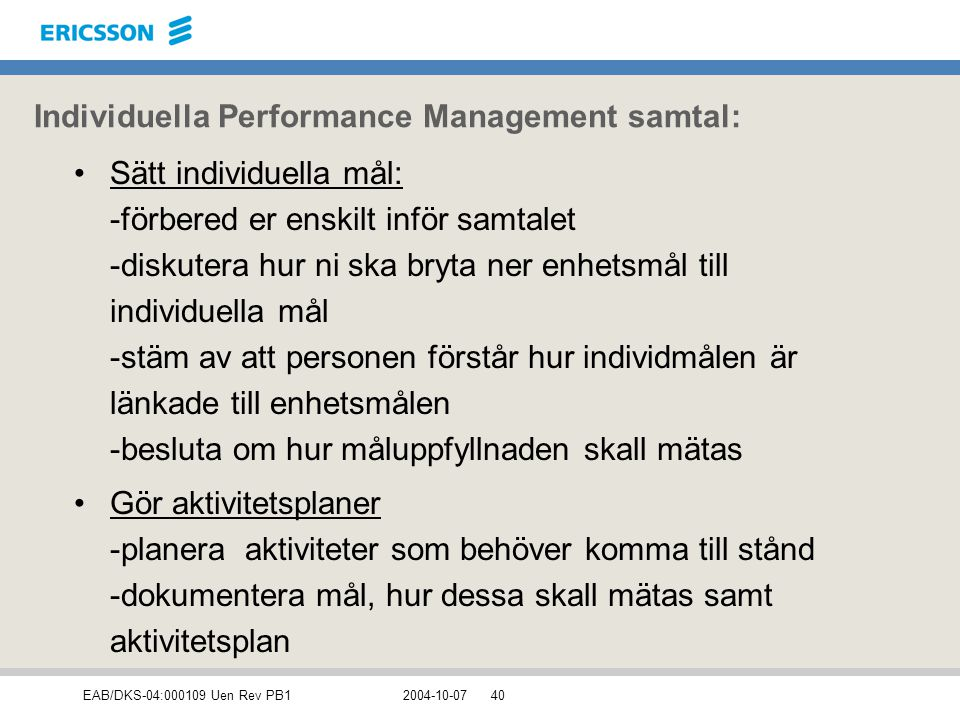 Individuella Performance Management samtal: