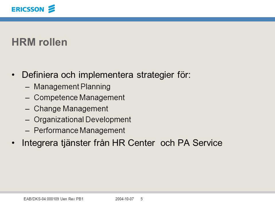 HRM rollen Definiera och implementera strategier för: