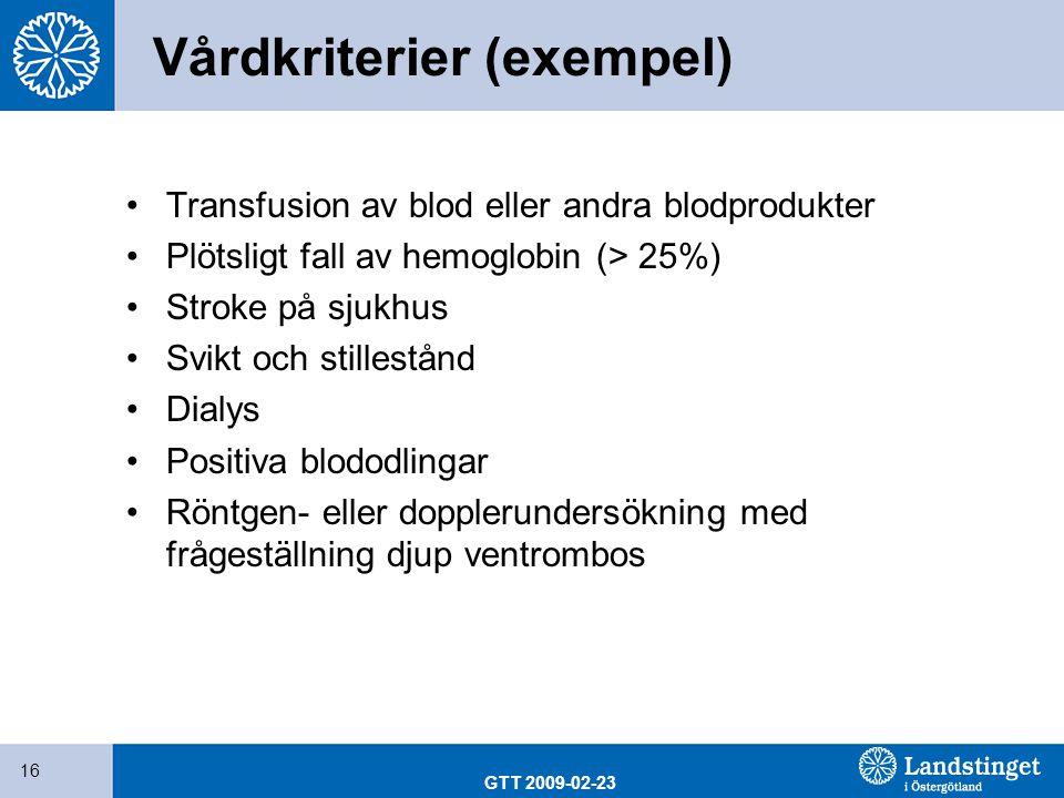 Vårdkriterier (exempel)