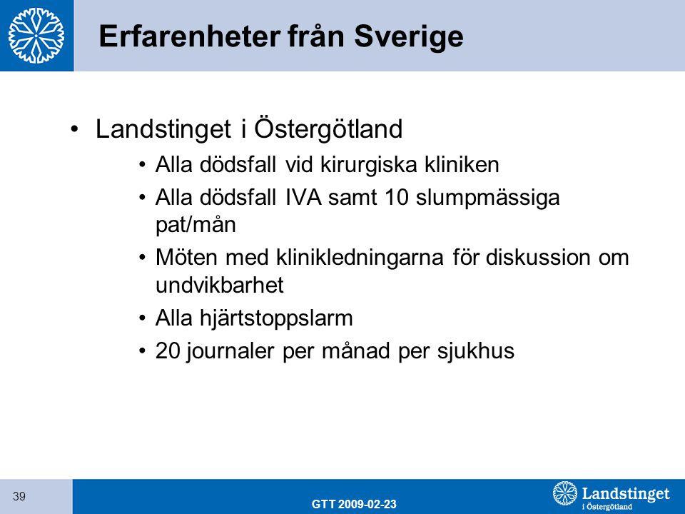 Erfarenheter från Sverige