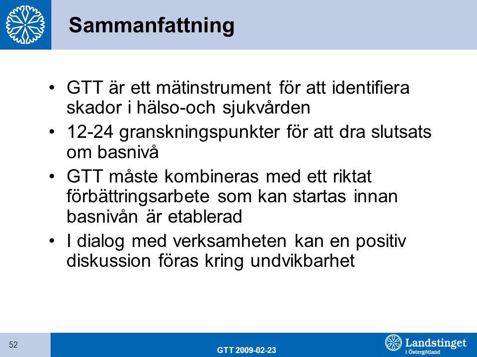 Sammanfattning GTT är ett mätinstrument för att identifiera skador i hälso-och sjukvården. 12-24 granskningspunkter för att dra slutsats om basnivå.