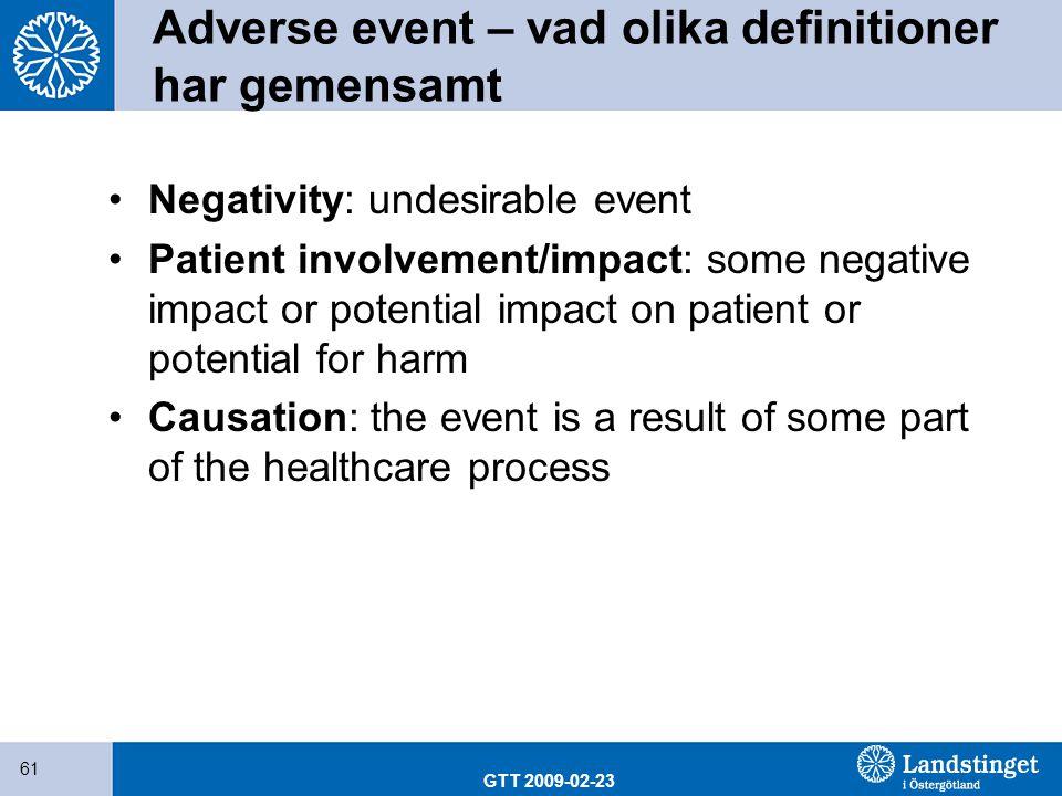 Adverse event – vad olika definitioner har gemensamt