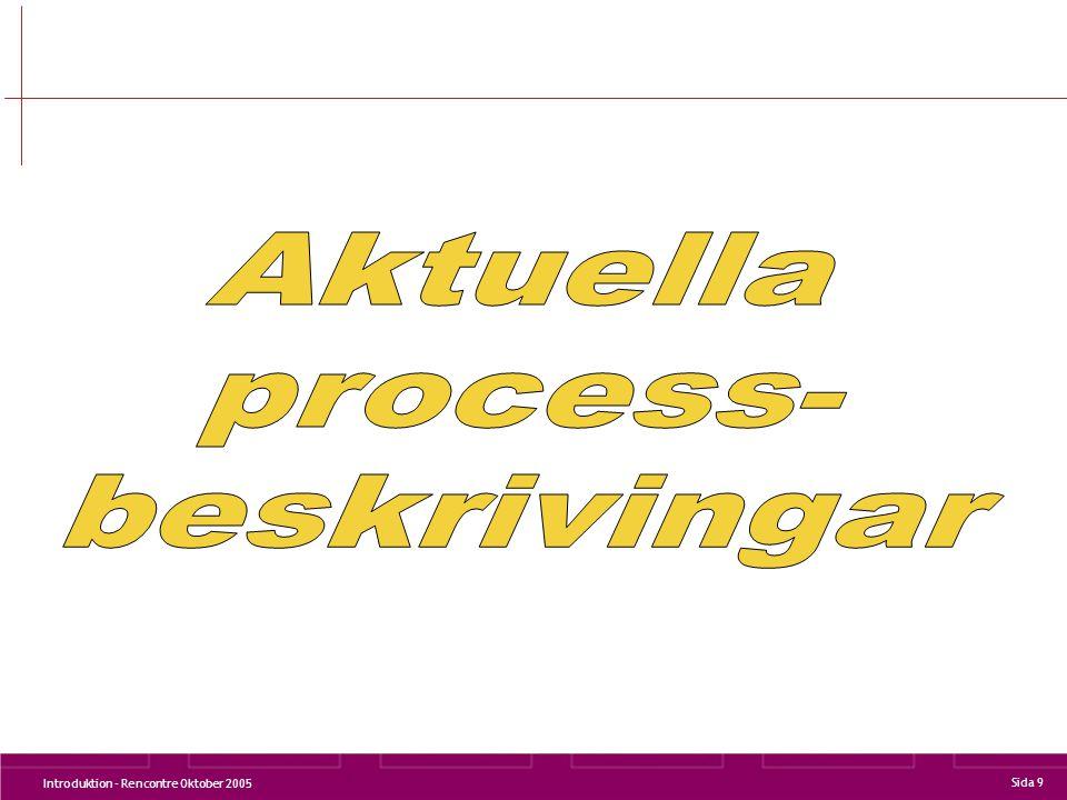 Aktuella process- beskrivingar Introduktion - Rencontre Oktober 2005