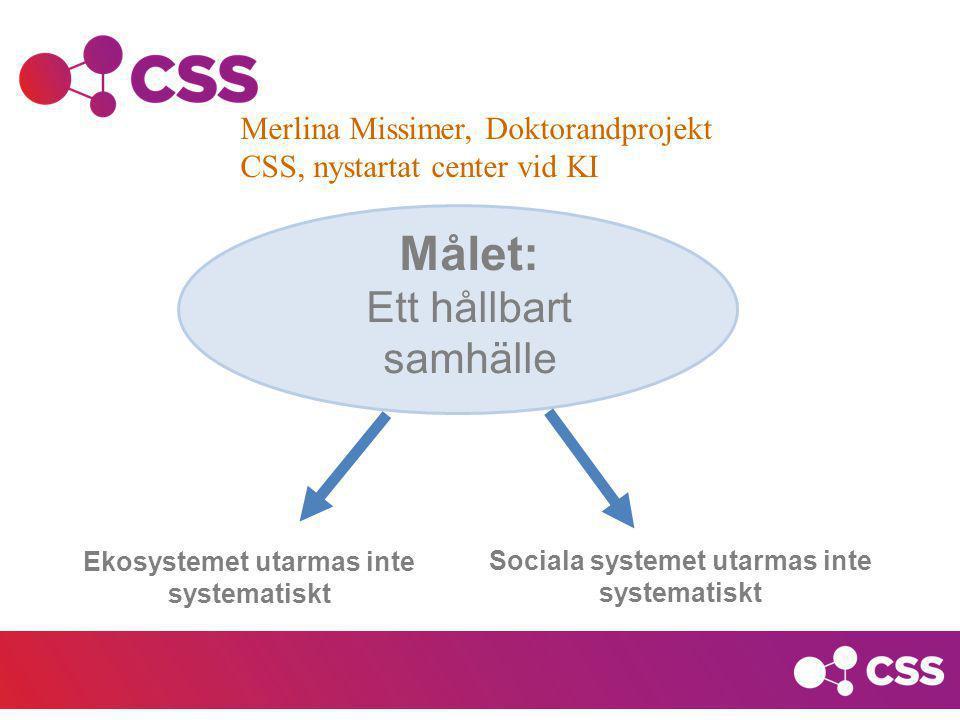 Målet: Ett hållbart samhälle Merlina Missimer, Doktorandprojekt