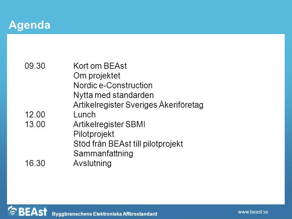 Agenda 09.30 Kort om BEAst Om projektet Nordic e-Construction