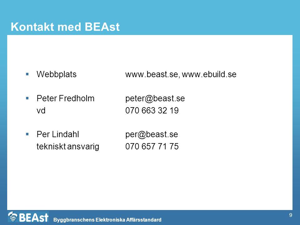 Kontakt med BEAst Webbplats www.beast.se, www.ebuild.se
