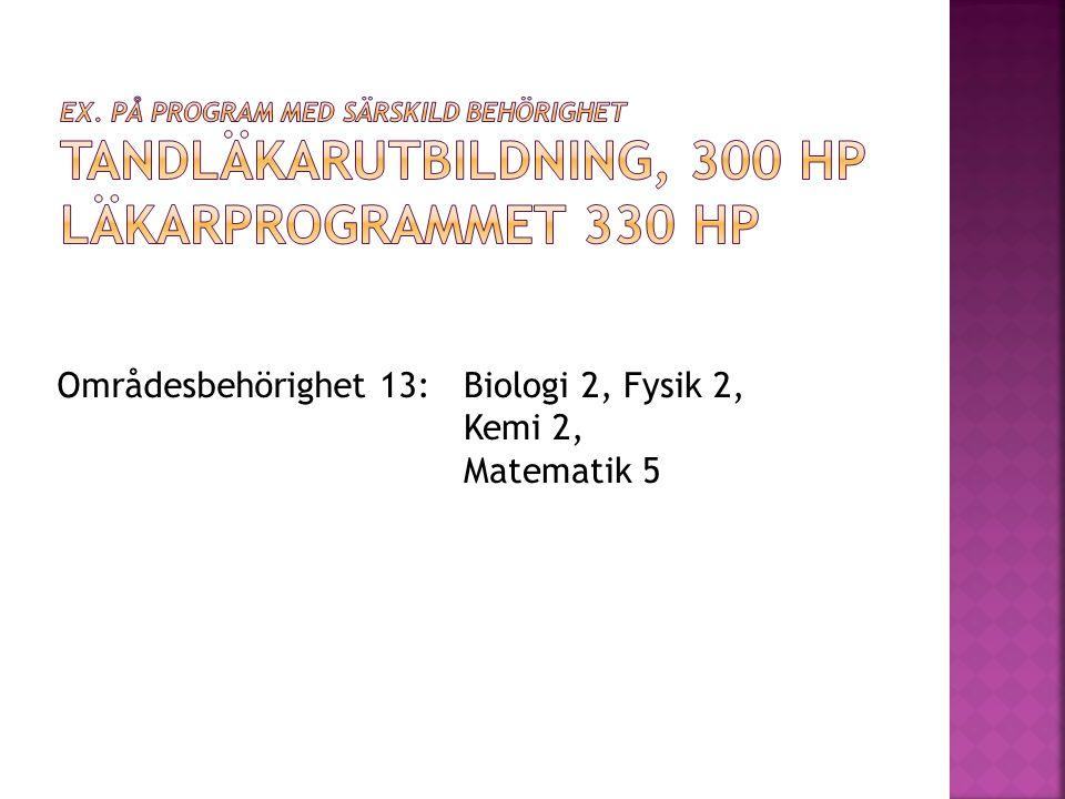 Områdesbehörighet 13: Biologi 2, Fysik 2, Kemi 2, Matematik 5