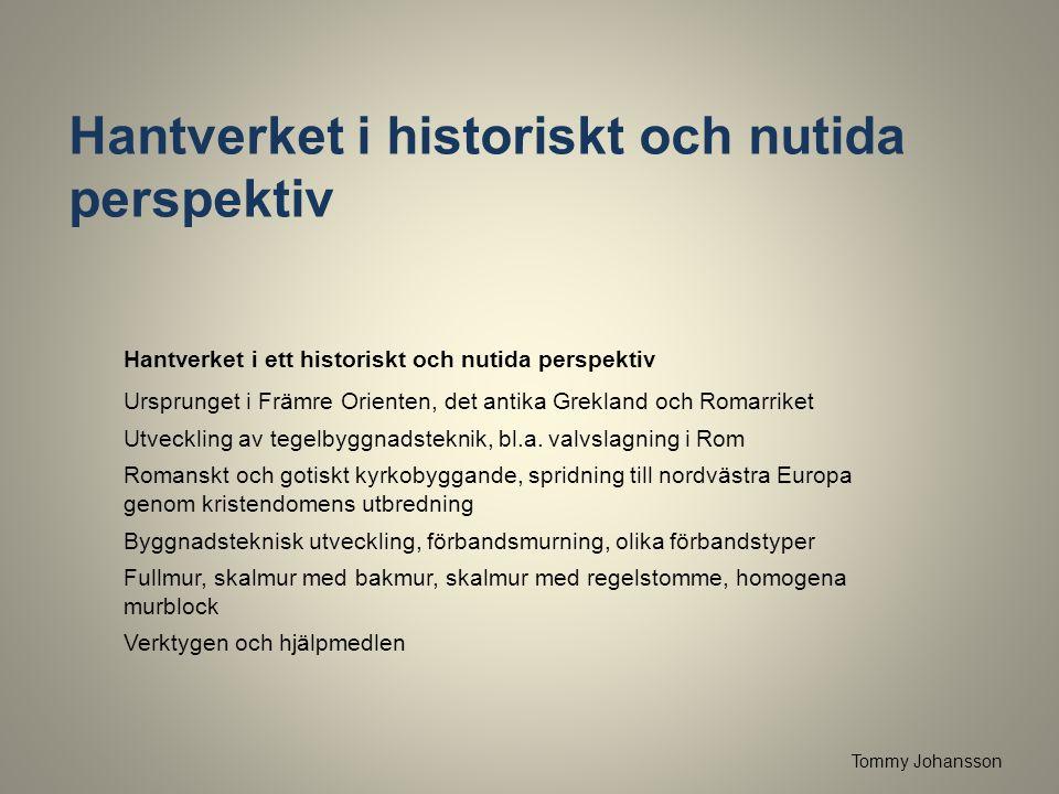 Hantverket i historiskt och nutida perspektiv