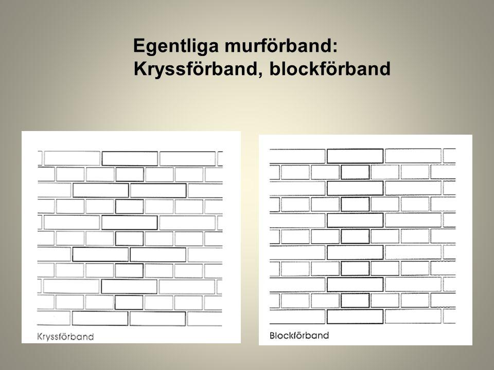Egentliga murförband: Kryssförband, blockförband