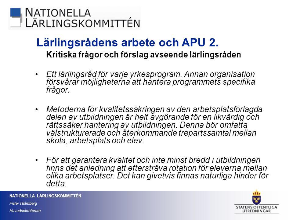 Lärlingsrådens arbete och APU 2.