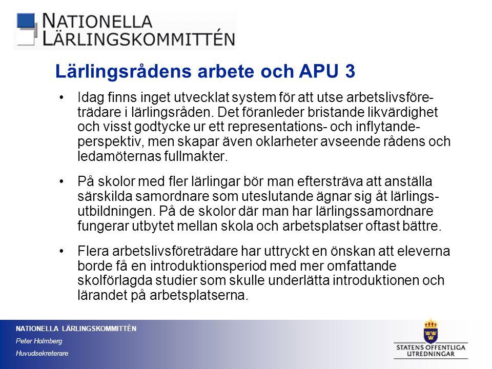 Lärlingsrådens arbete och APU 3