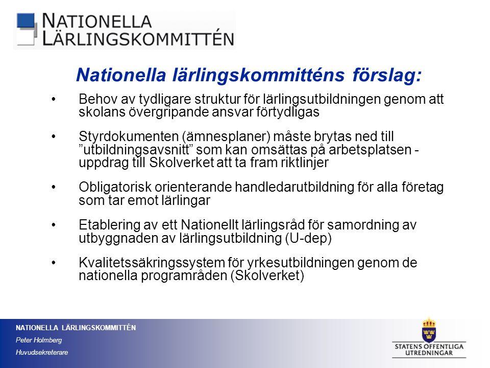 Nationella lärlingskommitténs förslag: