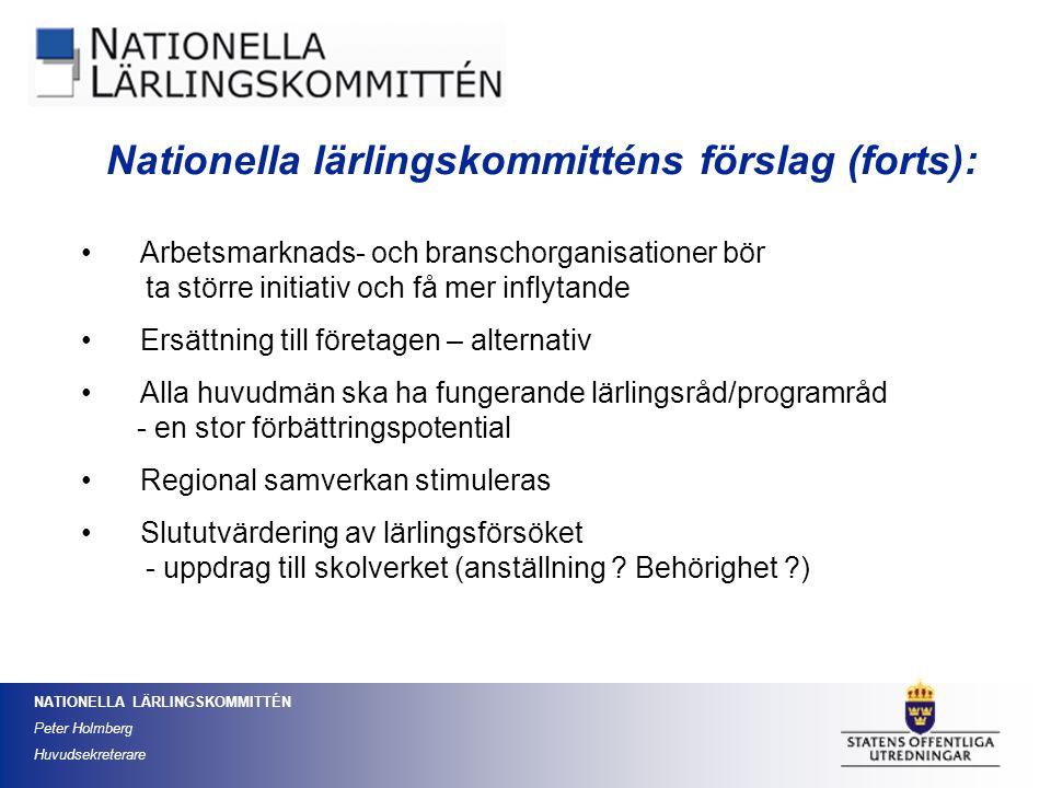 Nationella lärlingskommitténs förslag (forts):
