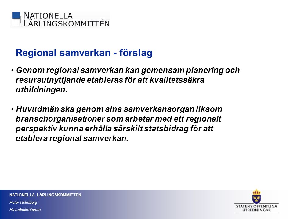 Regional samverkan - förslag
