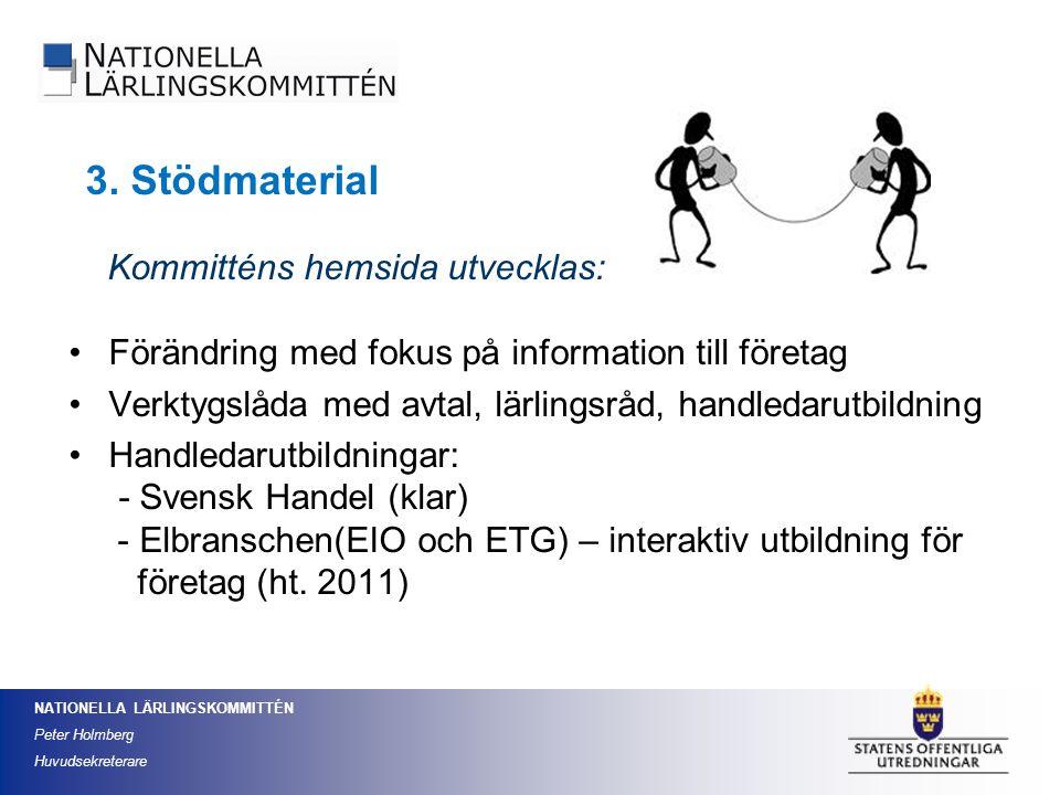 3. Stödmaterial Kommitténs hemsida utvecklas:
