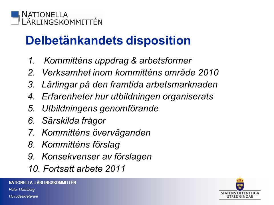 Delbetänkandets disposition