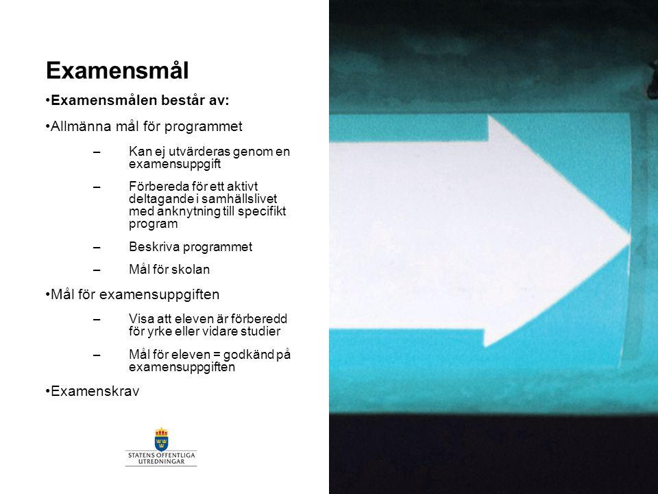 Examensmål Examensmålen består av: Allmänna mål för programmet