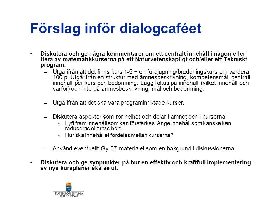 Förslag inför dialogcaféet