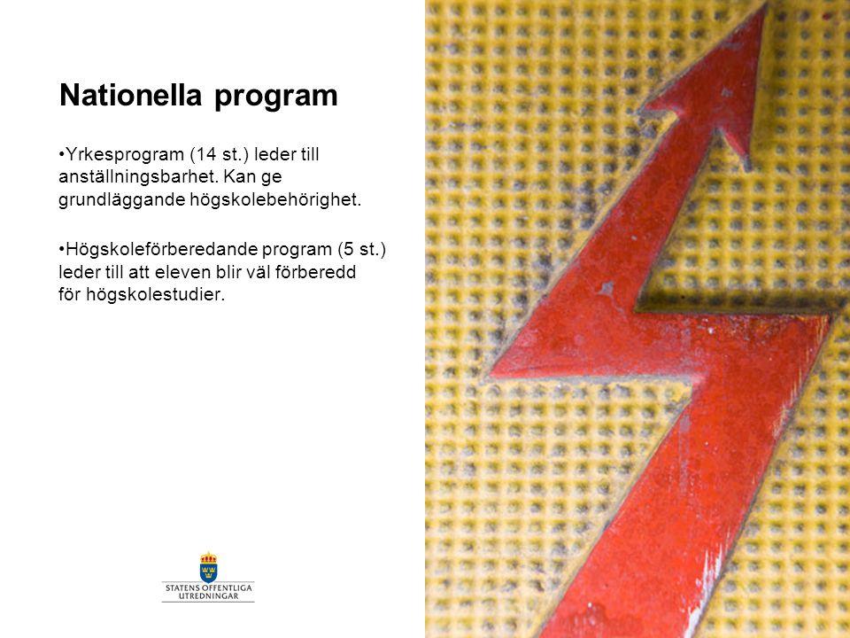 Nationella program Yrkesprogram (14 st.) leder till anställningsbarhet. Kan ge grundläggande högskolebehörighet.