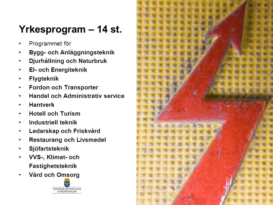 Yrkesprogram – 14 st. Programmet för Bygg- och Anläggningsteknik