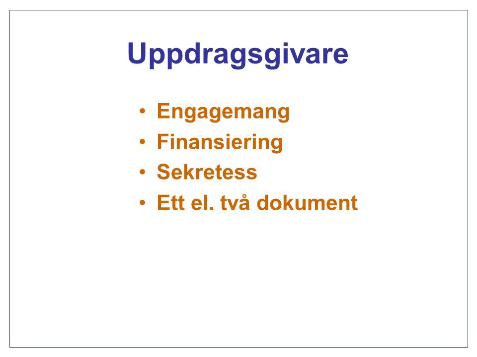 Uppdragsgivare Engagemang Finansiering Sekretess Ett el. två dokument